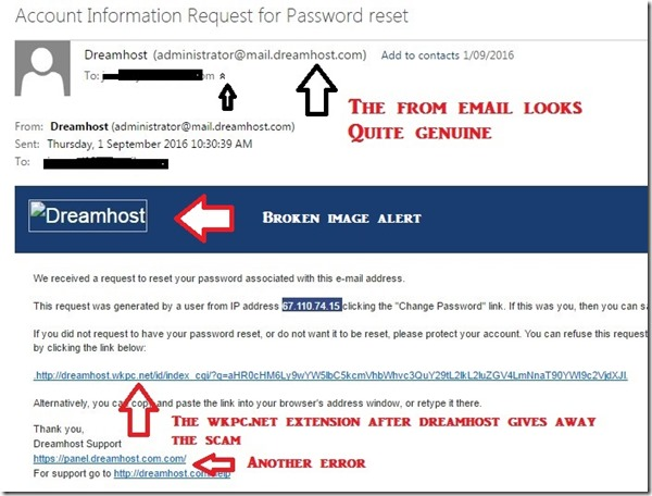 phishing email from scammers